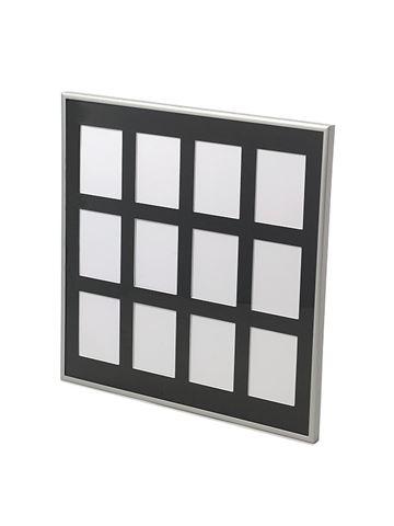Månedsramme 50x50 mat sølv m/sort passepartout 12 huller til 9x12 fotos